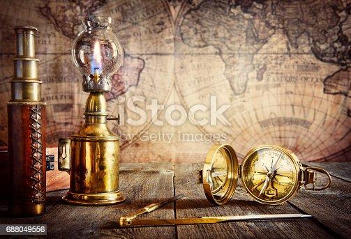istock Exploration and nautical theme grunge background 688049556
