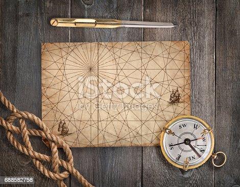 istock Exploration and nautical theme grunge background 688582758