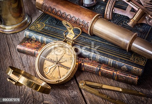 istock Exploration and nautical theme grunge background. 690087976
