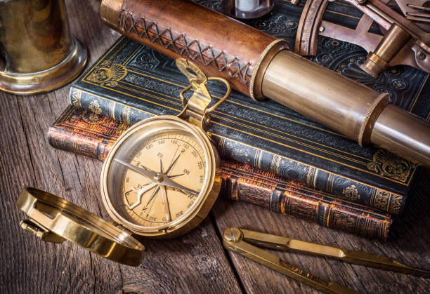 exploration and nautical theme grunge background. - vintage nautical stock photos and pictures