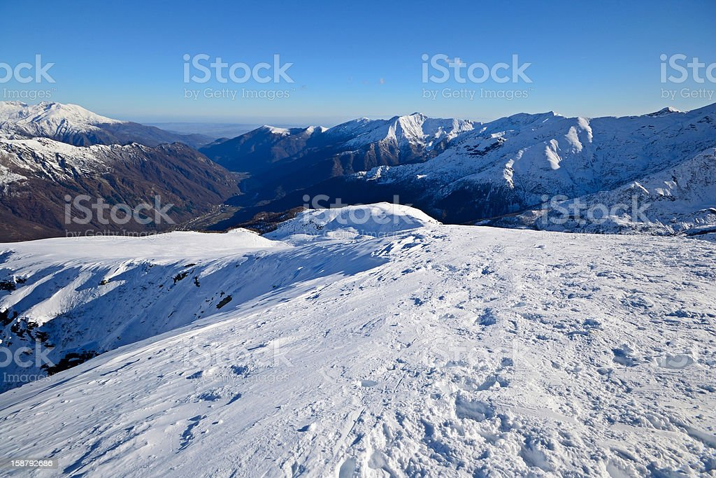Exploration by back country skiing royalty-free stock photo