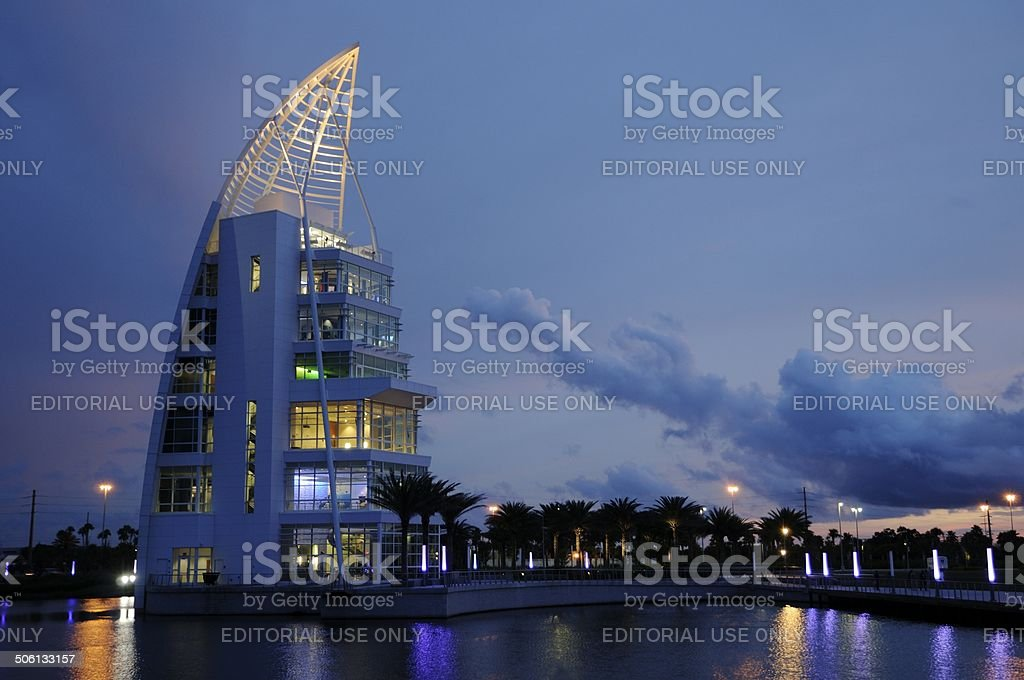 Exploration Tower at Port Canaveral at Twilight stock photo