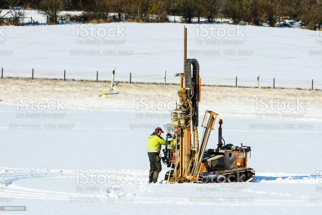 Exploratory drilling in winter stock photo