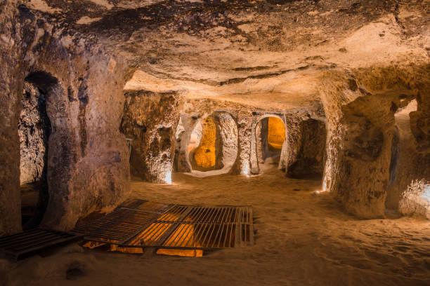 Explore Kaymakli underground city in Cappadocia, Turkey. stock photo