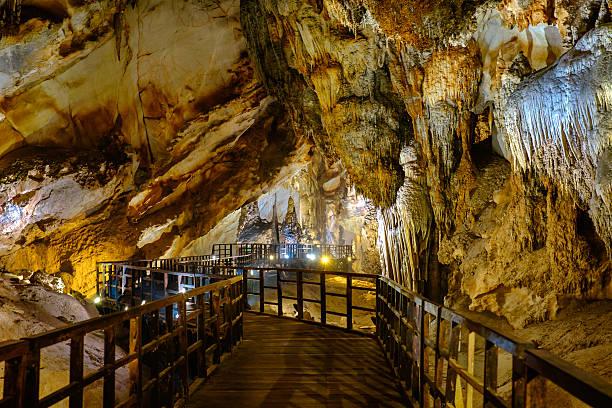 Explore Paradise cave in Vietnam stock photo