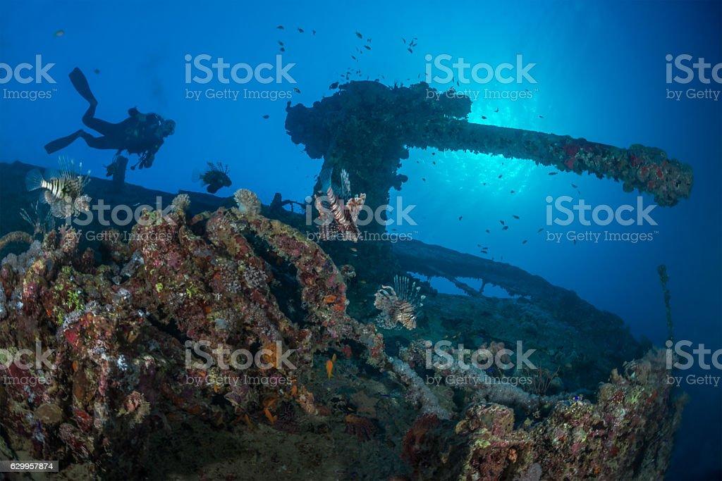 Explore underwater stock photo