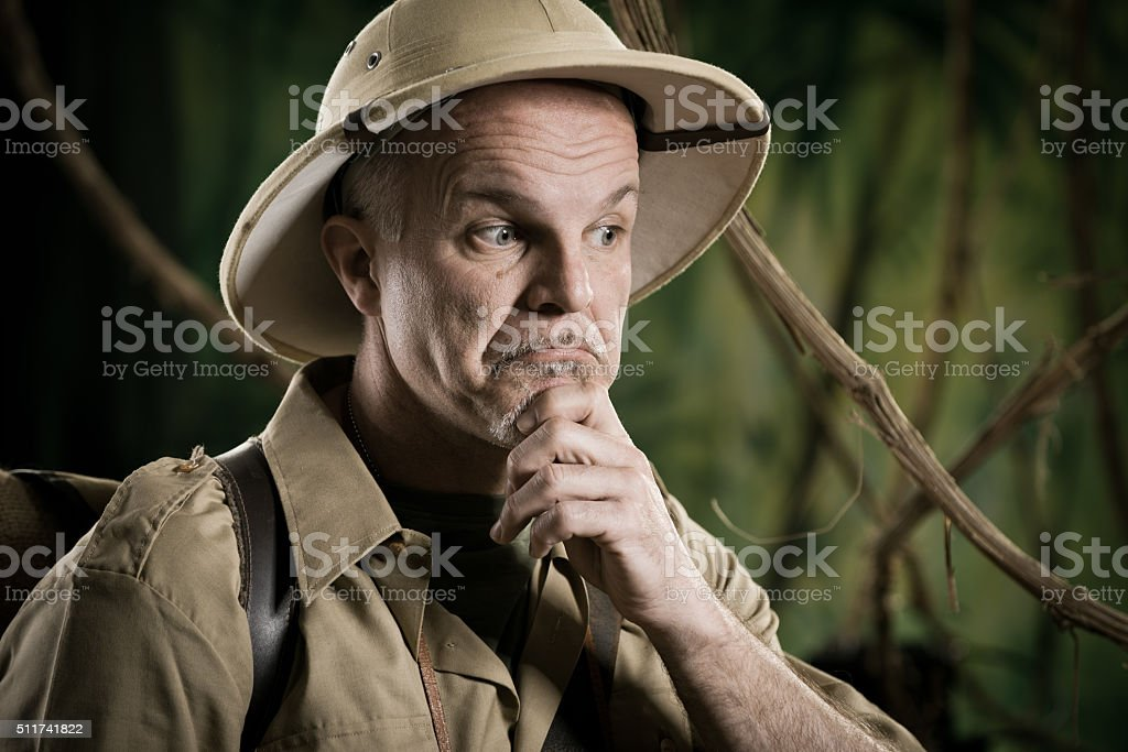 Explorer dealing with dilemma stock photo