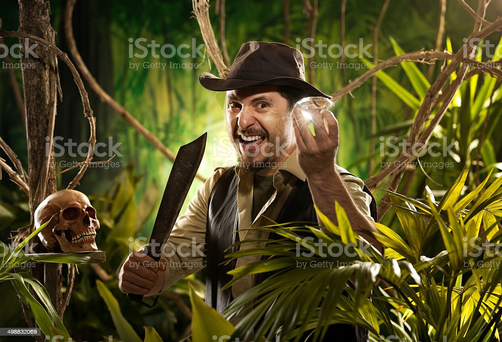 Explorer finding a treasure stock photo