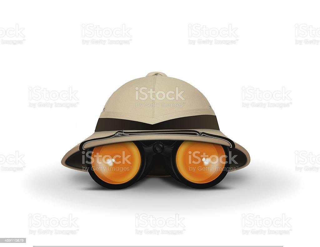 Explorer Hat and Binocular stock photo