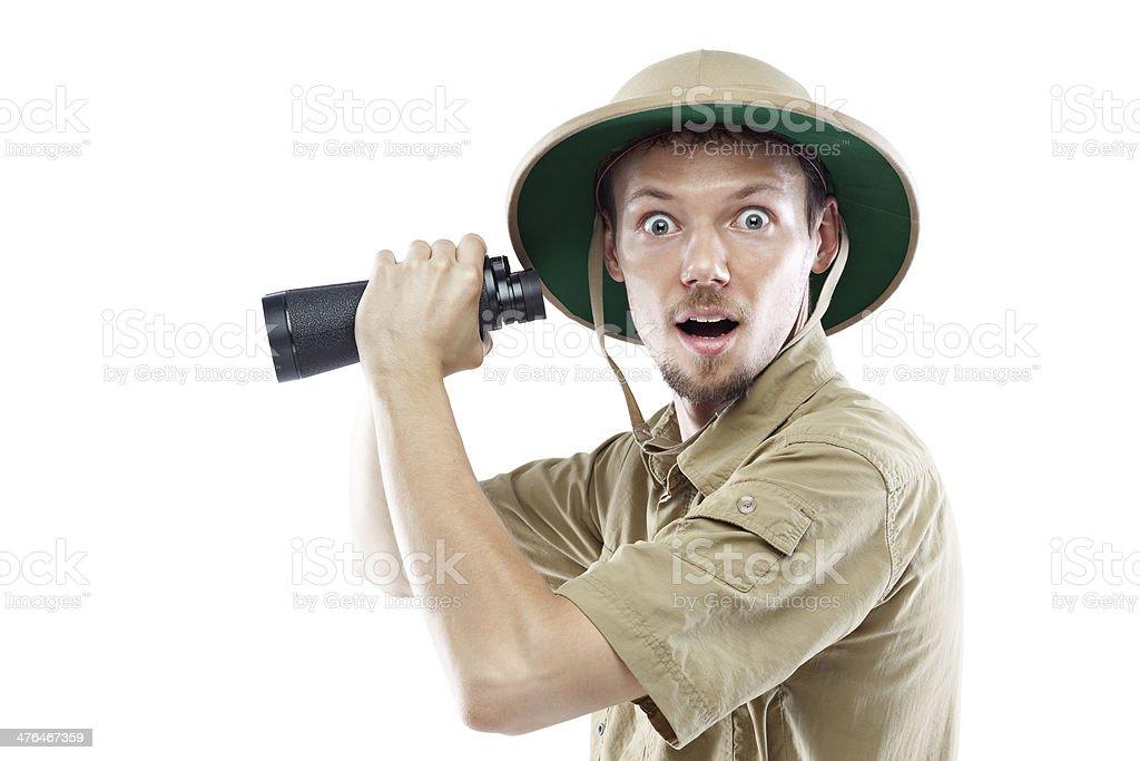 Explorer holding binoculars stock photo