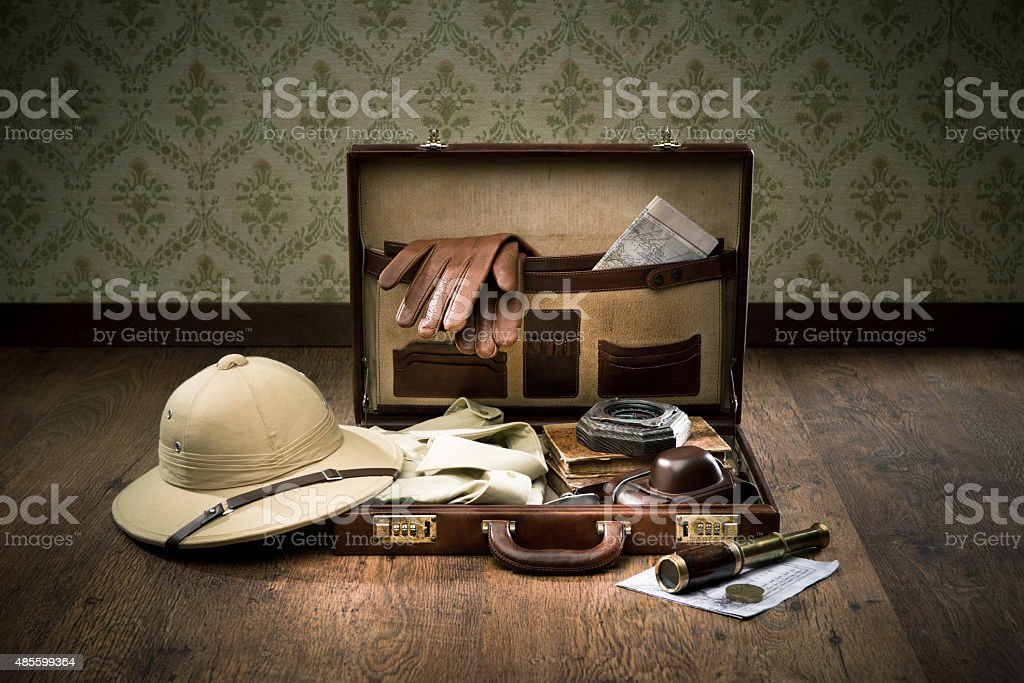 Explorer packing for a travel stock photo