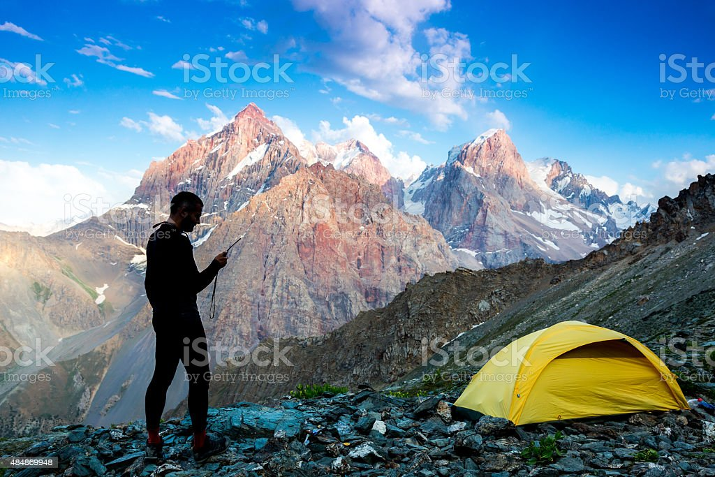 Explorer talking via radio station stock photo
