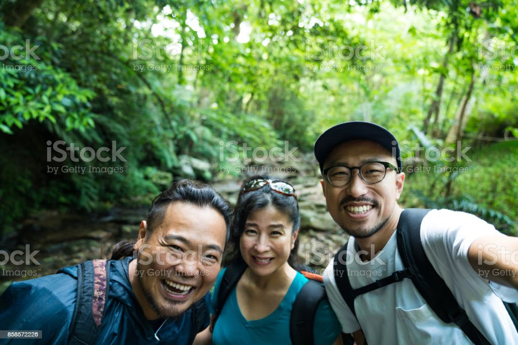 Exploring a forest in Okinawa Japan stock photo