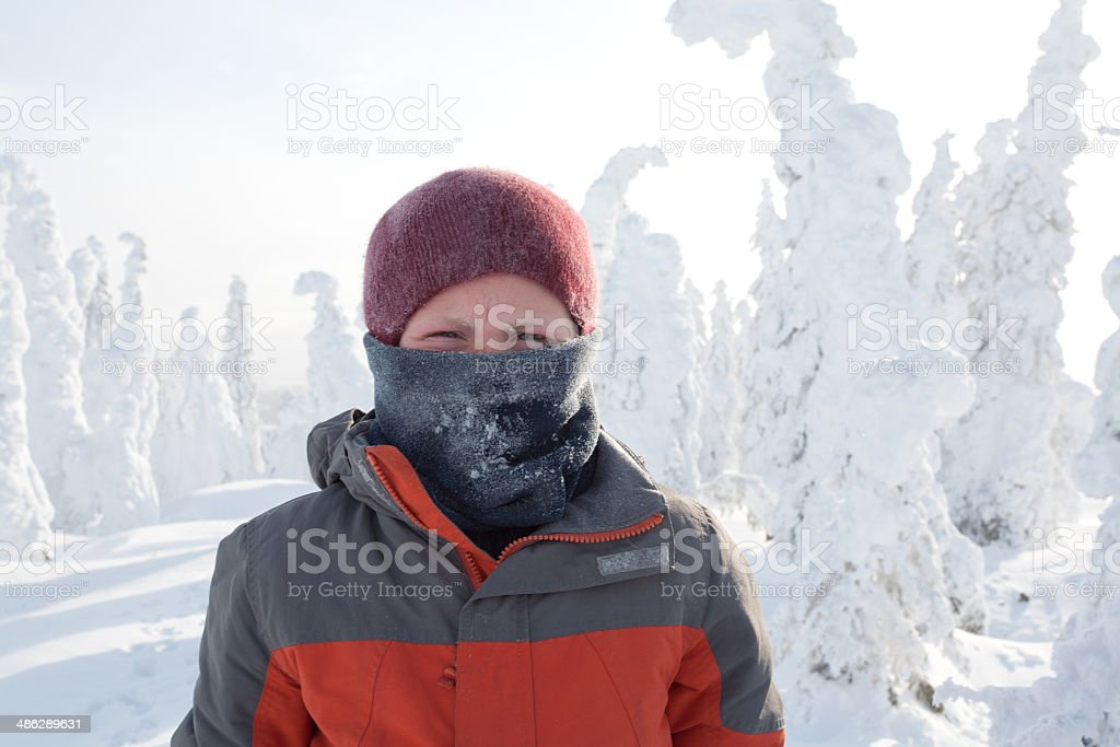 Exploring an Extreme Winter Landscape stock photo