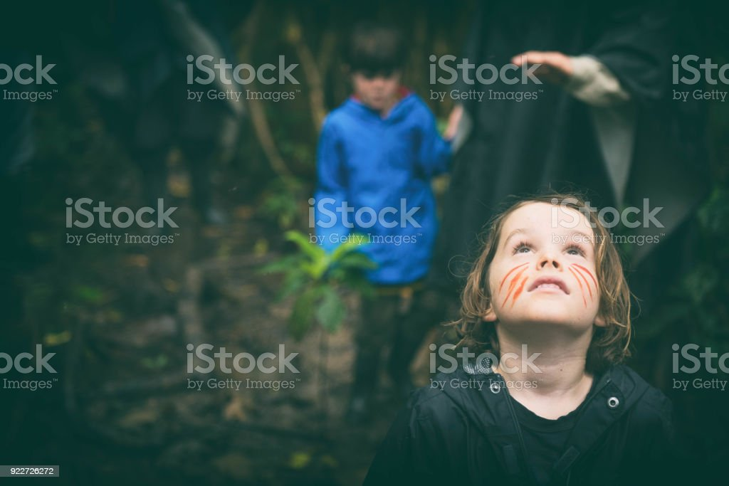 Exploring and learning in the jungle stock photo