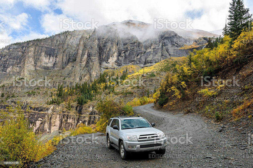 Exploring Autumn Mountains stock photo