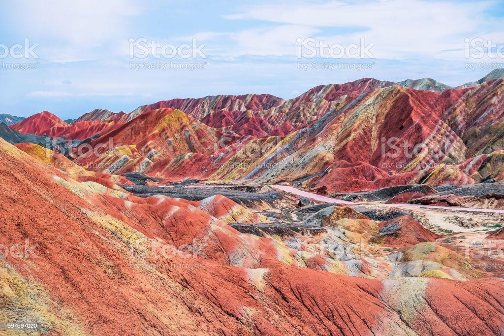 Exploring China's rainbow mountain in summer stock photo