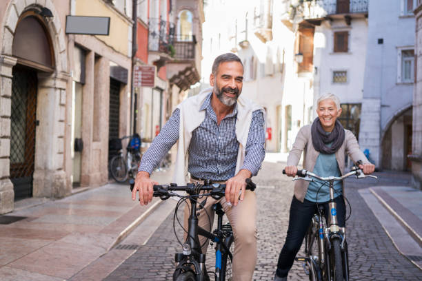 Exploring city with bicycle stock photo