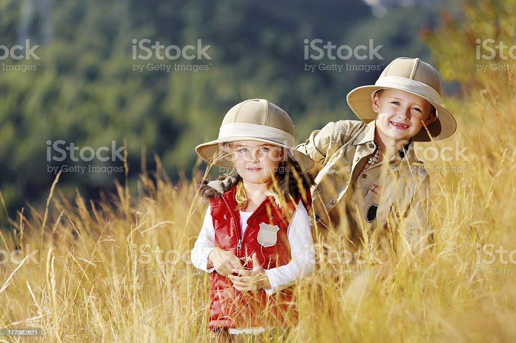 Exploring kids stock photo