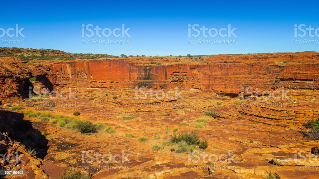 Exploring Kings Canyon in Australia stock photo