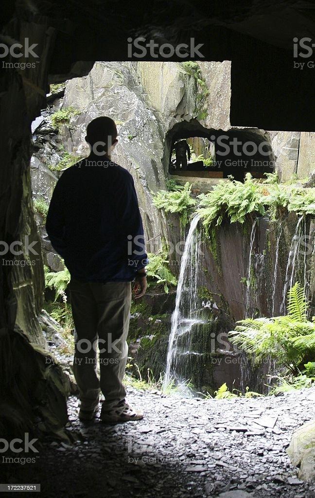 Exploring old slate mines, Llanberis North Wales royalty-free stock photo