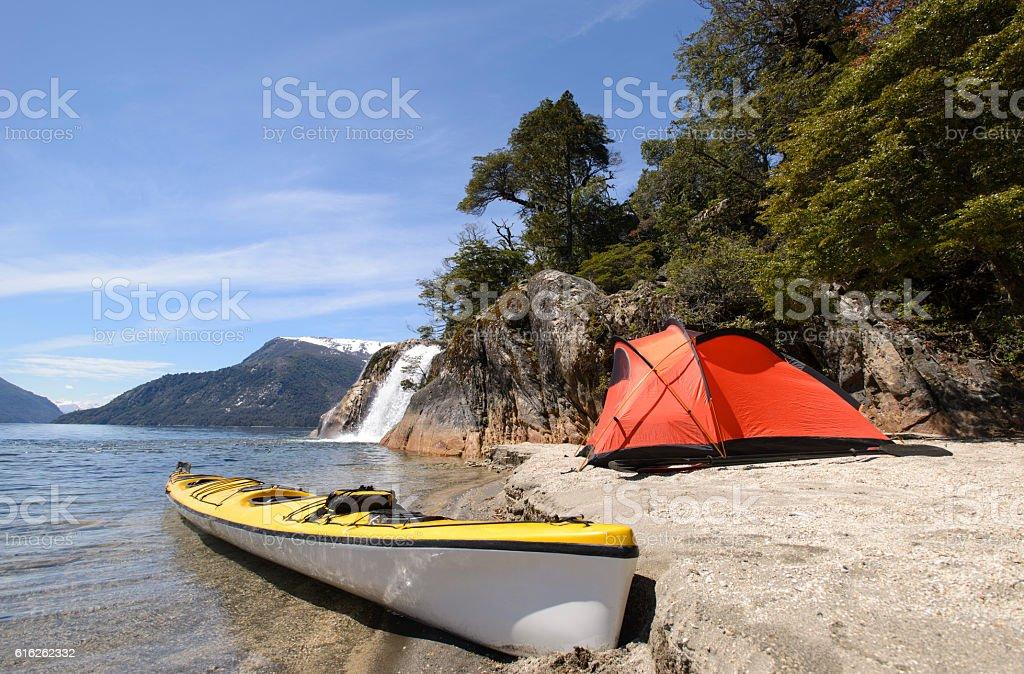 Exploring Patagonia Sea Kayak stock photo