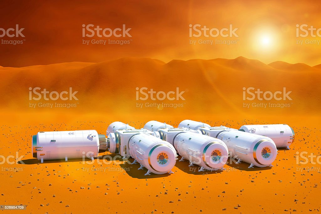 Exploring planet Mars: space station modules on red rocky surface stock photo