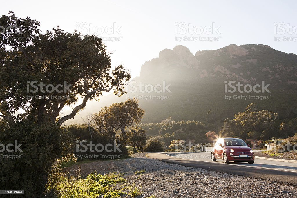 Exploring the countryside by car stock photo
