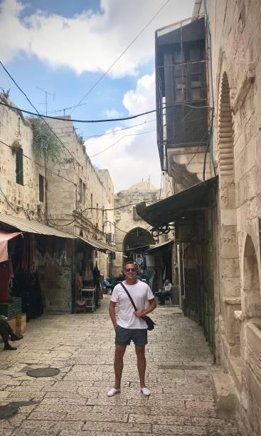 Exploring the old city of Jerusalem. stock photo