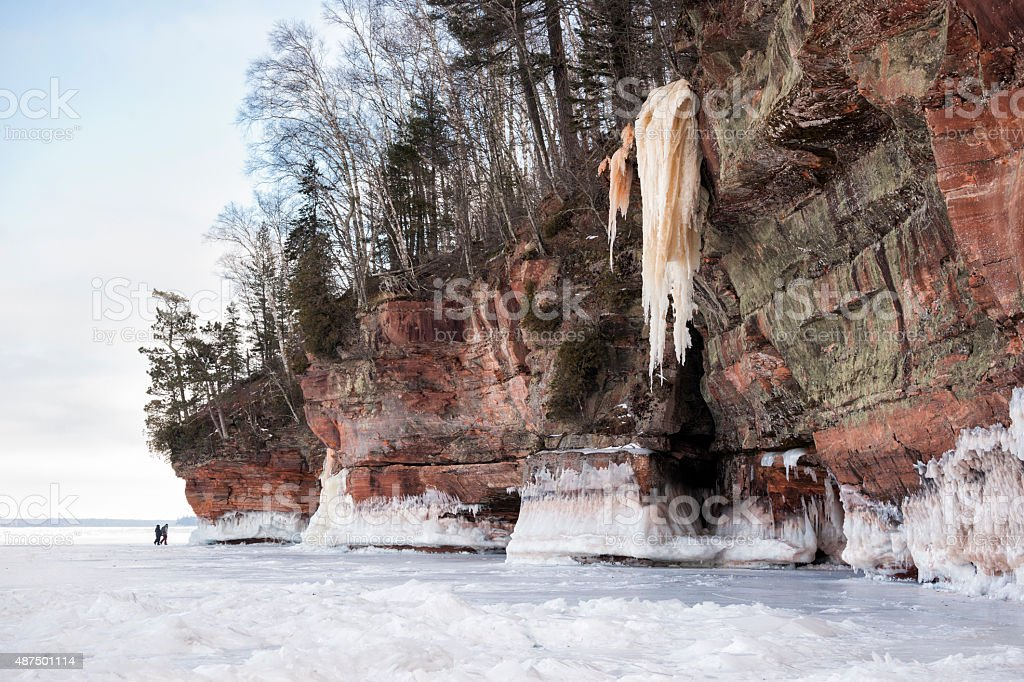 Exploring the remote Apostle Island ice caves in Wisconsin stock photo