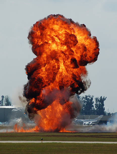 Explosion at airport stock photo