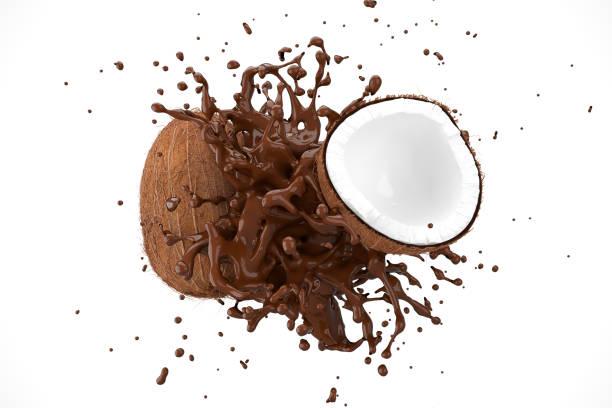 Explosion Schokolade mit Kokosfrucht auf weißem Hintergrund. 3D-Rendern. – Foto