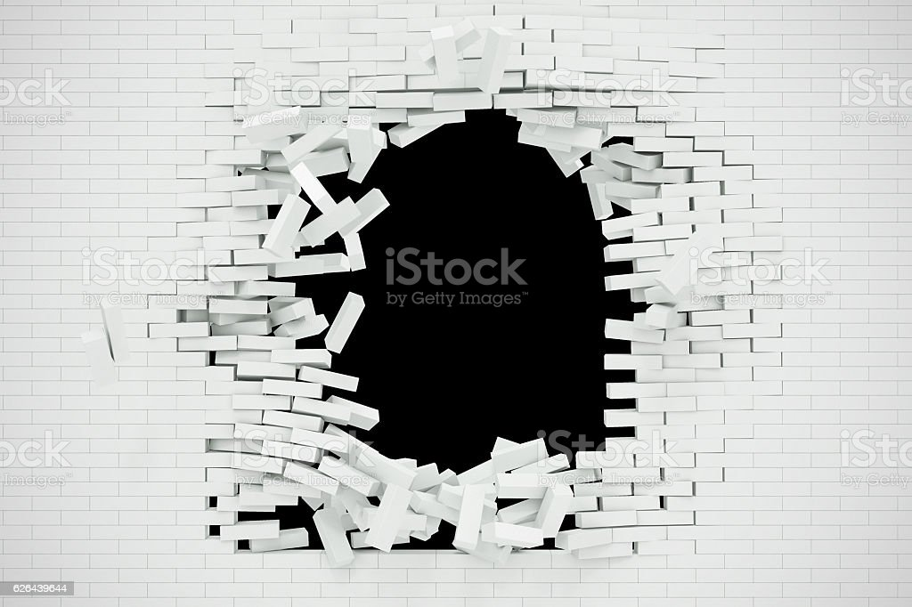 Explosion, destruction of a white brick wall, abstract background for stock photo