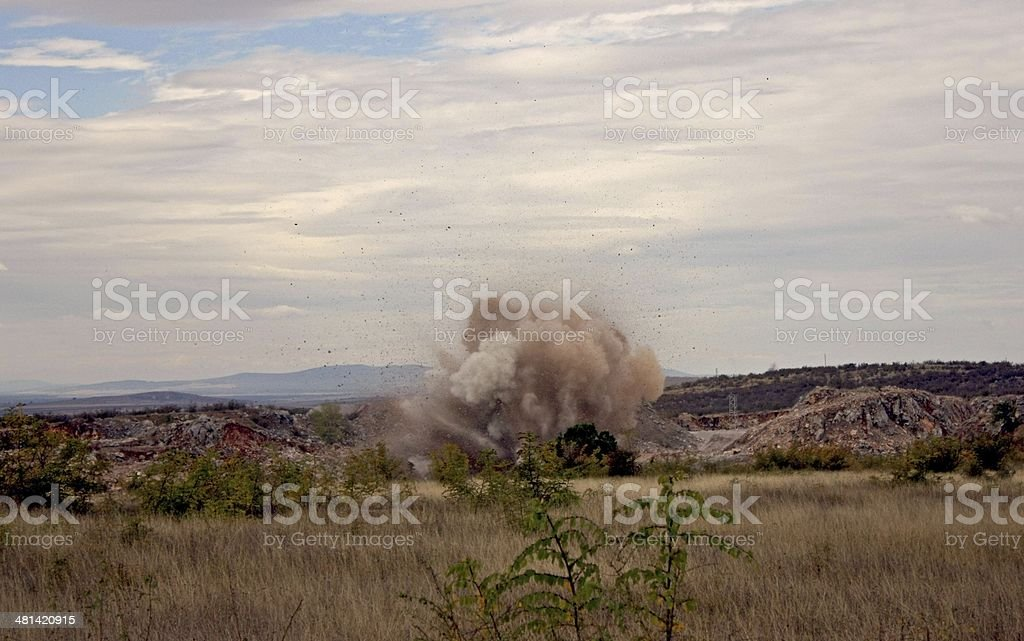 Explosion in open mine stock photo