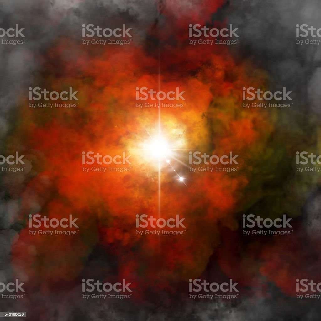 Explosion in space stock photo