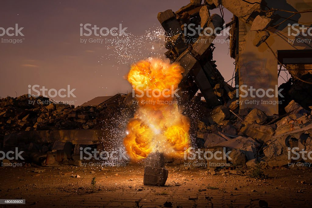 Explosion in the old hall royalty-free stock photo