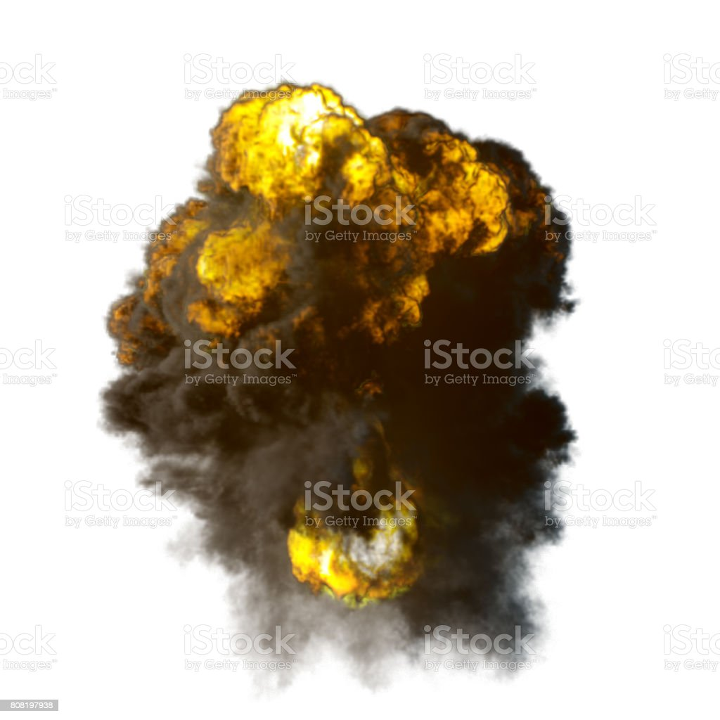 Explosion mushroom shape cloud with fire and smoke illustration stock photo