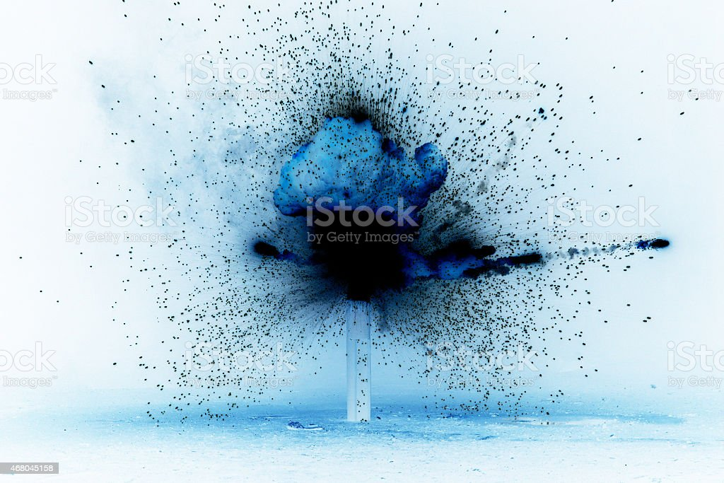 explosion - negative color stock photo