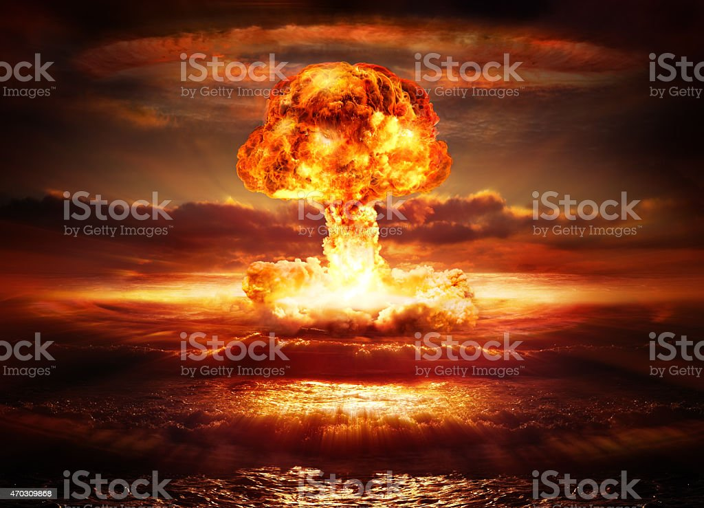 explosion nuclear bomb in ocean stock photo