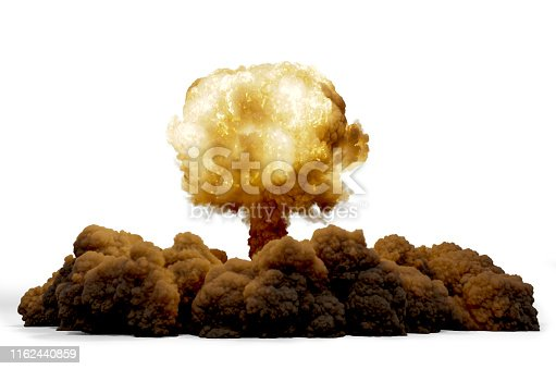 Explosion nuclear bomb isolated on white background, 3D rendering