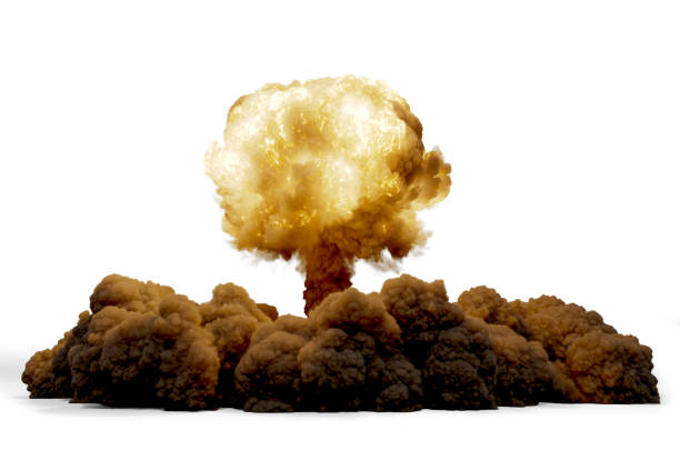 Explosion nuclear bomb isolated on white background, 3D rendering Explosion nuclear bomb isolated on white background, 3D rendering military attack stock pictures, royalty-free photos & images