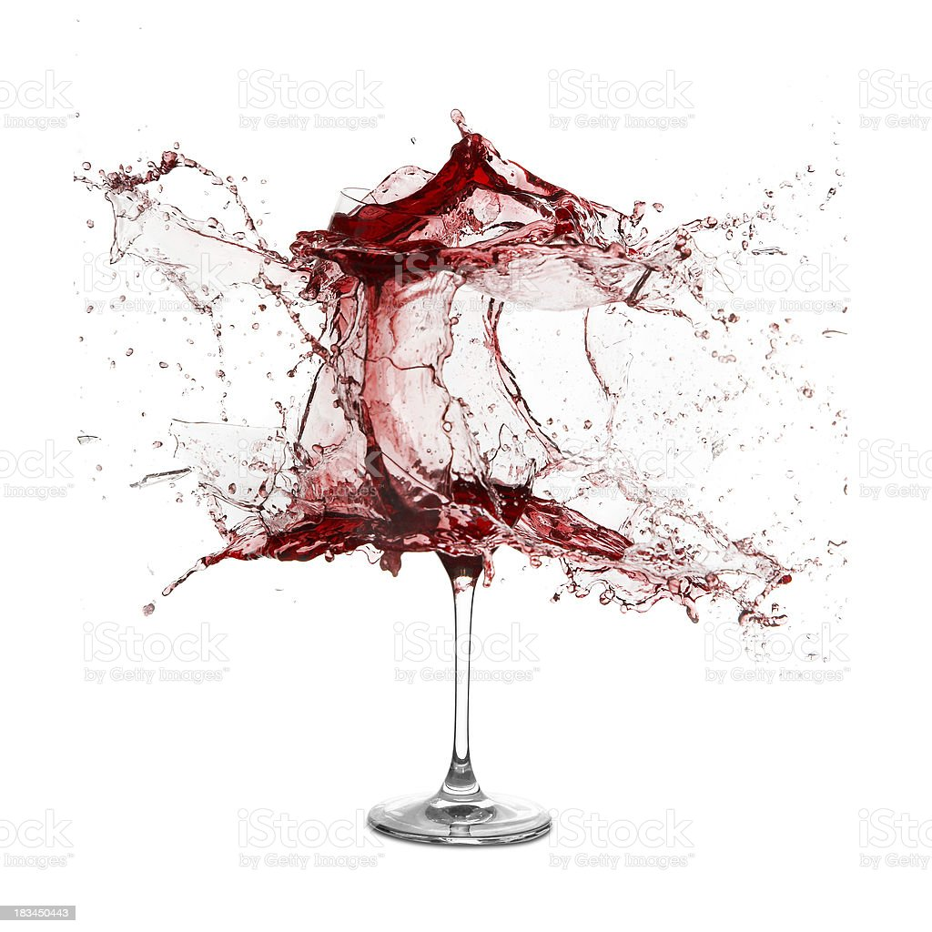Explosion of a glass with red wine stock photo