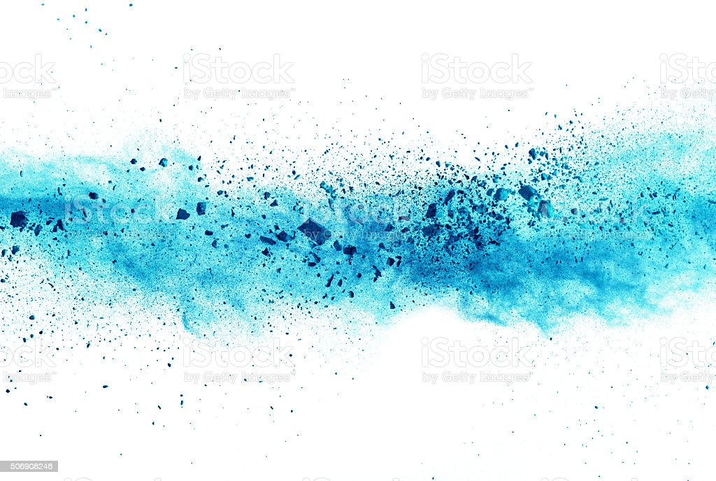 Explosion of blue powder on white background stock photo