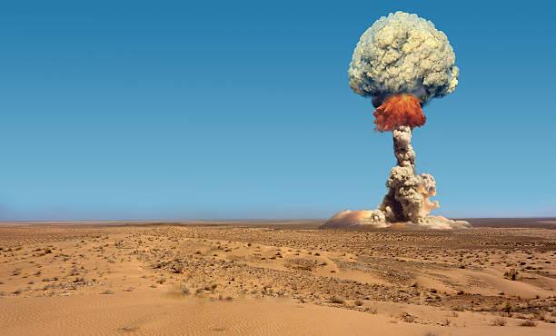 Explosion of bomb atomic. stock photo