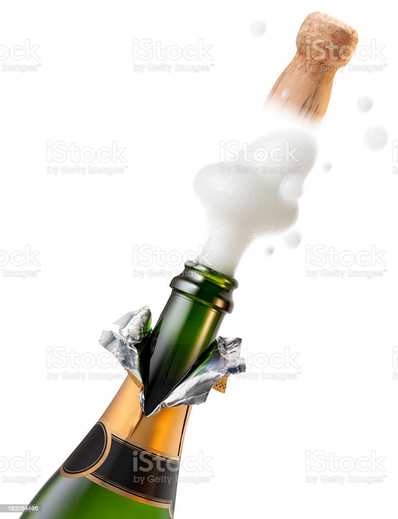 Explosion of champagne bottle cork for celebration stock photo