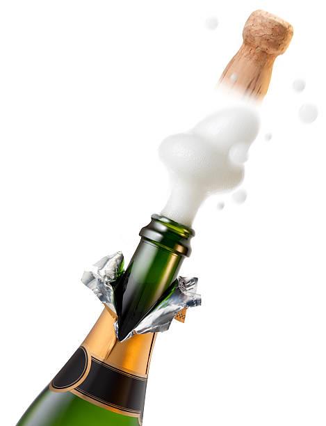 explosion der flasche champagner cork für feier - partylabels stock-fotos und bilder
