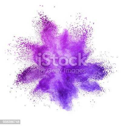 istock Explosion of colored powder, isolated on ultra violet background. 938386748