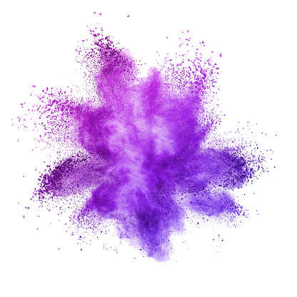 Explosion of colored powder, isolated on ultra violet background. Inventive and imaginative, Ultra Violet lights the way to what is yet to come. Color of the Year 2018 Pantone