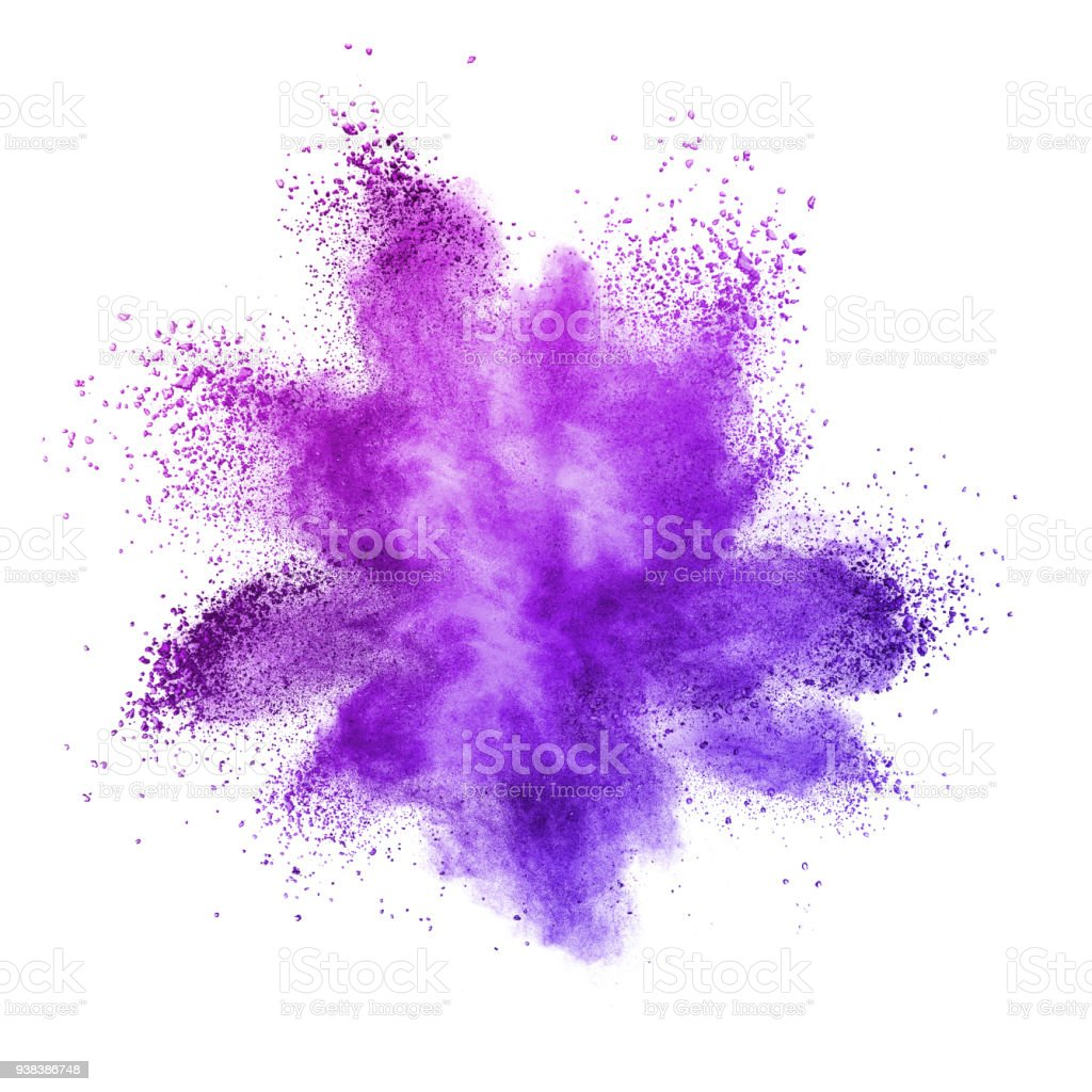Explosion of colored powder, isolated on ultra violet background. stock photo