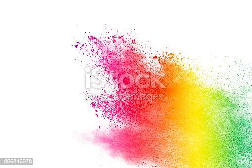 istock Explosion of colored powder isolated on white background. 866846678